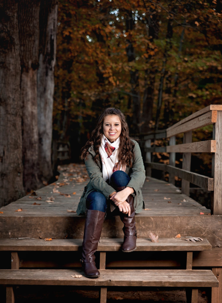 kathy rogers photography, lorain county photographer, newborn photographer, maternity photographer, family photographer, child photographer, senior photographer, photos, pictures, photography, senior, girl, class, bridge, wood, woods, trees, boots, scarf