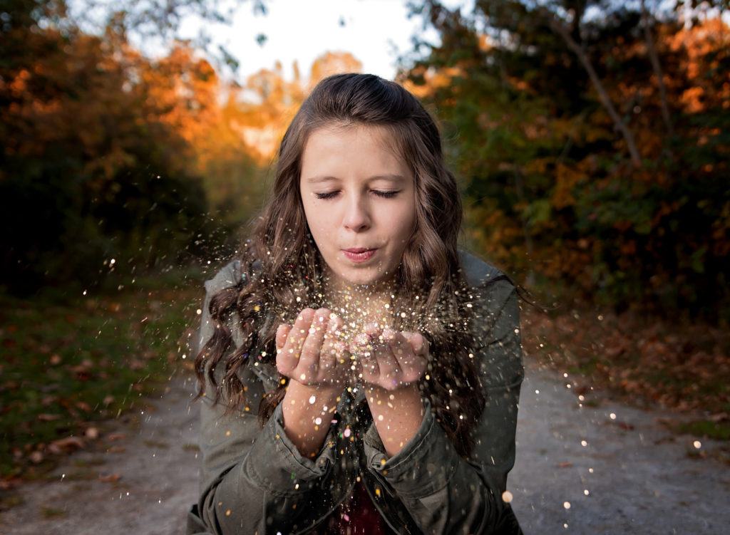 kathy rogers photography, lorain county photographer, newborn photographer, maternity photographer, family photographer, child photographer, senior photographer, photos, pictures, photography, senior, girl, class, glitter, jacket, outdoors, fall, woods, leaves, trail, trees