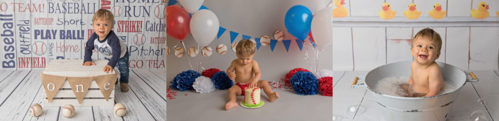 kathy rogers photography, lorain county photographer, newborn photographer, maternity photographer, family photographer, child photographer, senior photographer, photos, pictures, photography, milestone, cake smash, 1, one year old, baseball, ball, banner, crate, little boy, toddler, red, white, blue, bath, bubble, duck