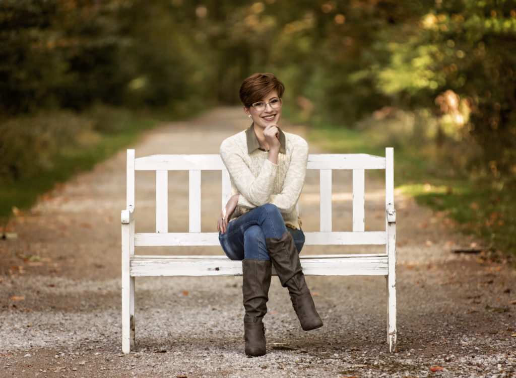 kathy rogers photography, lorain county photographer, newborn photographer, maternity photographer, family photographer, child photographer, senior photographer, photos, pictures, photography, senior, girl, bench, boots, sweater, outdoors, woods, trees, sun light, fall,