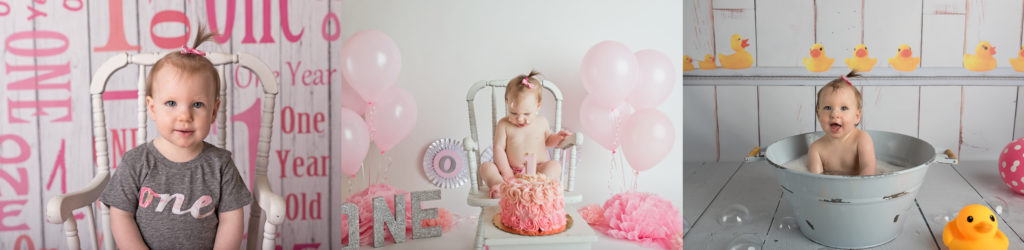 kathy rogers photography, lorain county photographer, newborn photographer, maternity photographer, family photographer, child photographer, senior photographer, photos, pictures, photography, milestone, little girl, one year old, 1, rocking chair, cake, pink, gray, banner, silver, glitter, bath, bubbles, duck