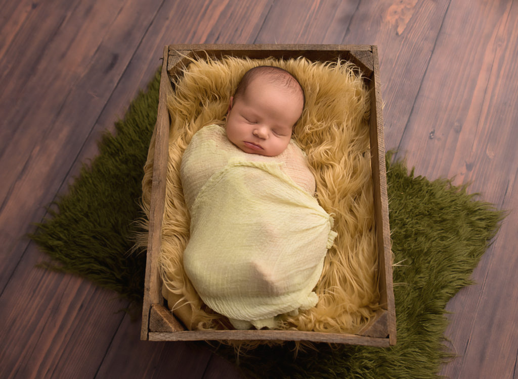 kathy rogers photography, lorain county photographer, newborn photographer, senior photographer, family photographer, maternity photographer, child photographer, photos, photography, pictures, newborn, baby boy, crate, wrap, sleeping, fur