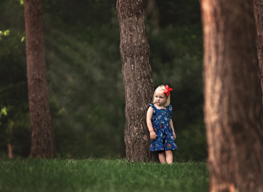 kathy rogers photography, lorain county photographer, newborn photographer, senior photographer, family photographer, maternity photographer, child photographer, little girl, spring, tree, woods, park, outdoors, bow, red, dress