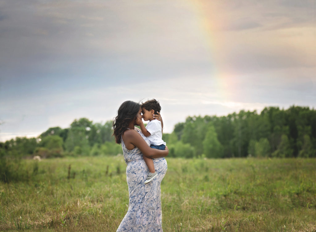 kathy rogers photography, lorain county photographer, newborn photographer, senior photographer, family photographer, maternity photographer, child photographer, photos, photography, pictures, maternity, mother, son, little boy, kisses, baby belly, woods, trees, rainbow, woods, trees, outdoors