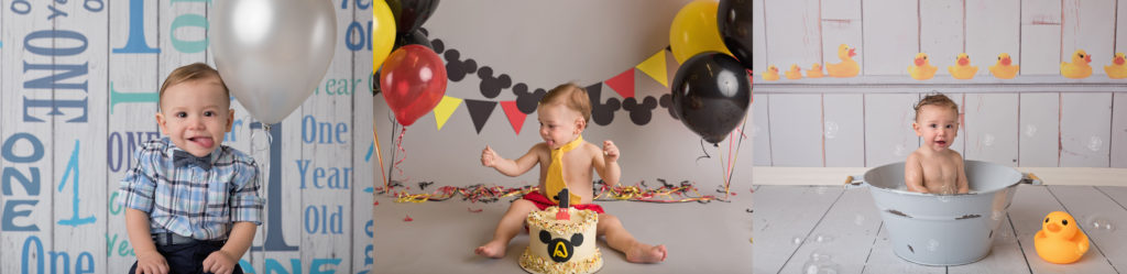 kathy rogers photography, lorain county photographer, newborn photographer, maternity photographer, family photographer, child photographer, senior photographer, photos, pictures, photography, milestone, one year old, 1, mickey mouse, disney, balloons, red, black, yellow, bath, ducks, tub, bubbles