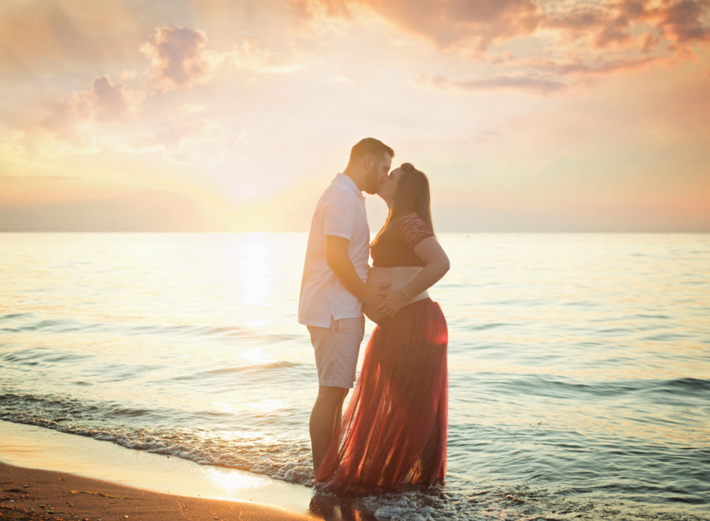 kathy rogers photography, lorain county photographer, newborn photographer, maternity photographer, family photographer, child photographer, senior photographer, baby belly, maternity, tutu, mother, father, sunset, lake, water, beach, clouds, sand, skirt